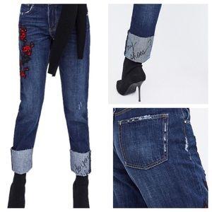 NWT Zara embroidered Cigarette Jean Size 2